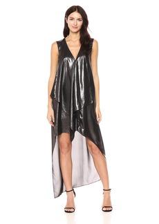 BCBGMax Azria Women's Tara Woven Cascade Ruffle Metallic Dress  S