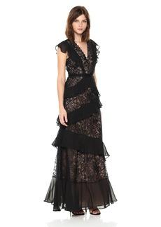 BCBG Max Azria BCBGMax Azria Women's Valerya Knit Button-Detailed Ruffle Gown