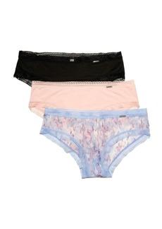 BCBG Max Azria Bcbgmaxazria 3 Pack Camo Print Micro Hipster with Mesh Trim Underwear