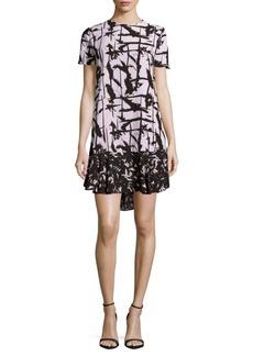 BCBGMAXAZRIA Abstract-Print Ruffle-Hem Dress