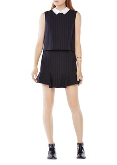 BCBGMAXAZRIA Abygail Collared Pinstripe Dress