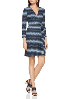 BCBGMAXAZRIA Adele Zig-Zag Striped Wrap Dress