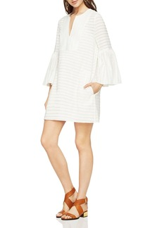 BCBGMAXAZRIA Adina Bell-Sleeve Front-Bib Dress