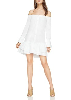 BCBGMAXAZRIA Aiyana Off-the-Shoulder Flounce-Hem Shirt Dress