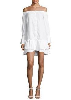 BCBGMAXAZRIA Aiyana Off-the-Shoulder Twill Mini Dress