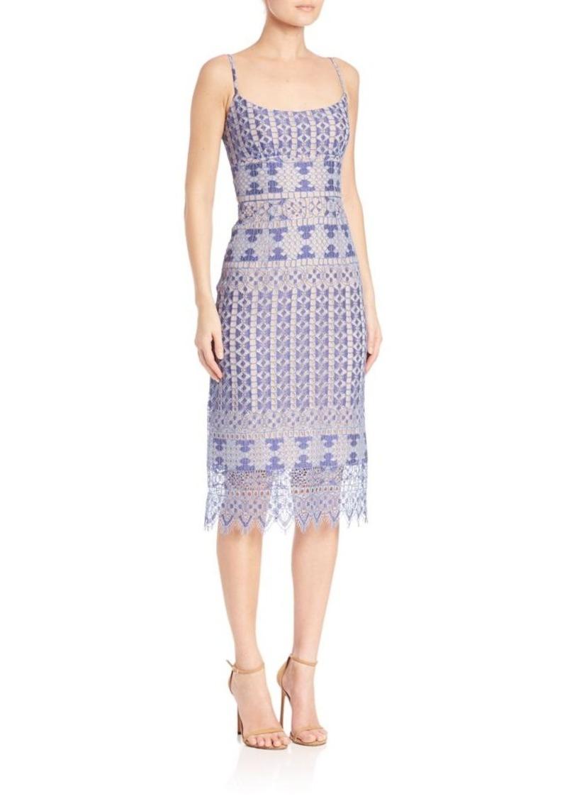 BCBG Max Azria BCBGMAXAZRIA Alese Geometric Lace Sheath Dress