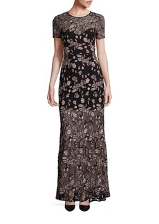 BCBGMAXAZRIA Alexus Embroidered Lace Gown