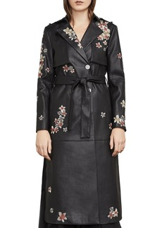 BCBGMAXAZRIA Alix Embroidered Faux Leather Trench Coat