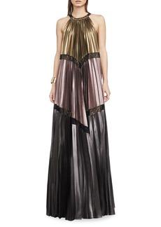 BCBGMAXAZRIA Alyson Metallic Colorblocked Maxi Dress
