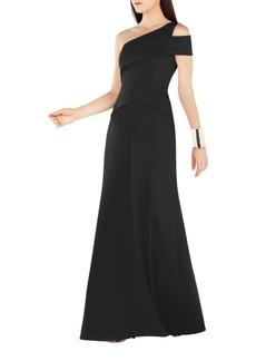 BCBG Max Azria BCBGMAXAZRIA Annely One Shoulder Peplum A-Line Gown