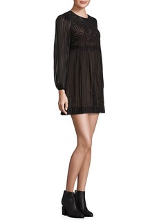 BCBGMAXAZRIA Astrid Floral Lace Top Silk Dress