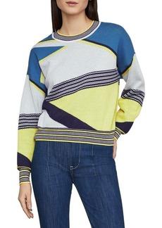 BCBG Max Azria BCBGMAXAZRIA Asymmetric Colorblock Cotton Sweater