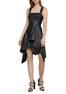 BCBG Max Azria BCBGMAXAZRIA Asymmetric Faux Leather Fit-&-Flare Dress