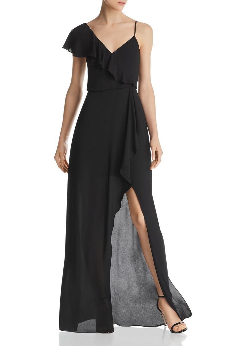 BCBG Max Azria BCBGMAXAZRIA Asymmetric Faux-Wrap Gown - 100% Exclusive