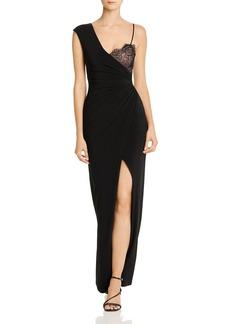 BCBG Max Azria BCBGMAXAZRIA Asymmetric Lace-Detail Combo Gown