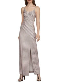 BCBG Max Azria BCBGMAXAZRIA Asymmetric Stripe Long Dress