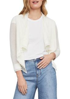 BCBG Max Azria BCBGMAXAZRIA Asymmetrical Cotton Blend Pointelle Cardigan