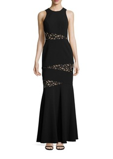 BCBG Max Azria BCBGMAXAZRIA Asymmetrical Lace Inset Gown