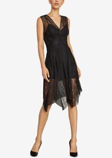 BCBG Max Azria Bcbgmaxazria Asymmetrical Lace-Trimmed Dress