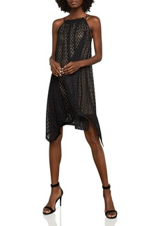 BCBG Max Azria BCBGMAXAZRIA Asymmetrical Mesh Trapeze Dress