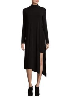 BCBGMAXAZRIA Asymmetrical Mockneck Midi Dress