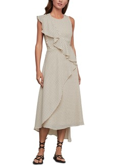 BCBG Max Azria Bcbgmaxazria Asymmetrical-Ruffled Floral-Dot-Print Dress