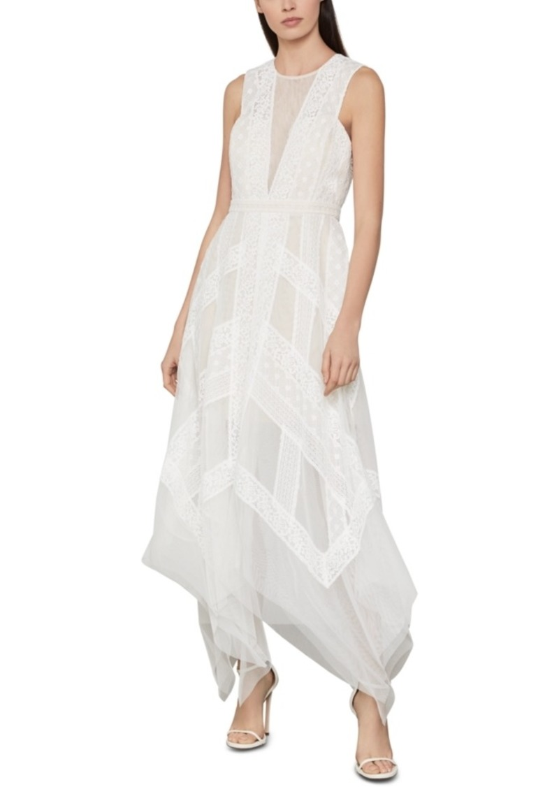 BCBG Max Azria Bcbgmaxazria Andi Asymmetrical Striped-Lace Dress