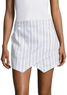 BCBGMAXAZRIA Asymmetrical Striped Mini Skirt