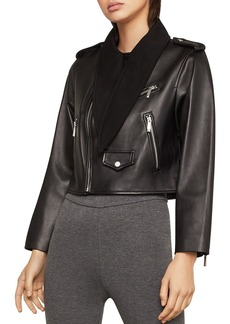 BCBG Max Azria BCBGMAXAZRIA Aubree Tie-Neck Cropped Leather Moto Jacket