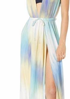 BCBG Max Azria BCBGMAXAZRIA BCBG Women's Overlap Rouched Maxi Dress Cover-Up Multi//Its A Wash L