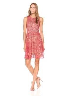 BCBGMAXAZRIA BCBGMax Azria Women's Alice Knit Stretch Lace Hankerchief Dress