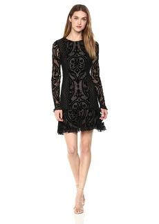 BCBGMAXAZRIA BCBGMax Azria Women's Guinevere Knit Velvet Ruffled Dress  XS