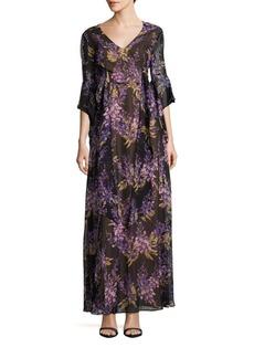 BCBGMAXAZRIA Beverle Floral Silk Gown
