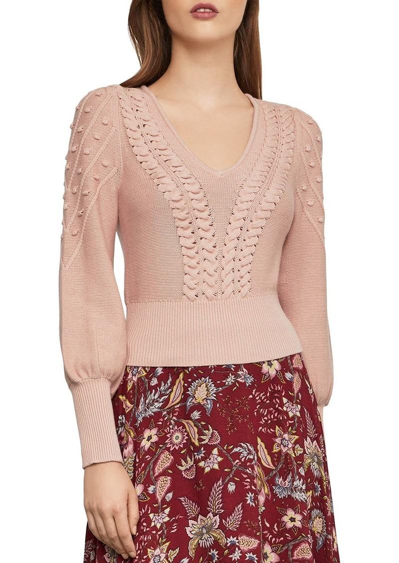 BCBG Max Azria BCBGMAXAZRIA Bishop-Sleeve Cable Sweater