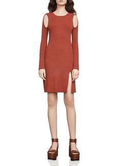 Bcbgmaxazria Braiden Marled Cold-Shoulder Sweater Dress