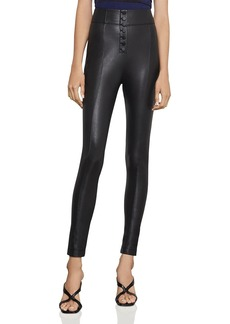 BCBG Max Azria BCBGMAXAZRIA Button-Front Faux Leather Leggings