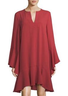BCBG Max Azria BCBGMAXAZRIA Caftan-Neck Long-Sleeve Ruffle Dress
