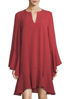 BCBG Max Azria BCBGMAXAZRIA Caftan-Neck Long-Sleeve Ruffle Dress
