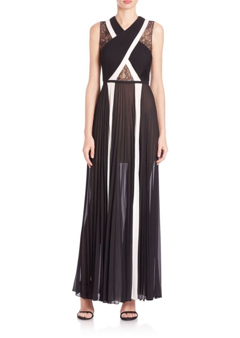 BCBG Max Azria BCBGMAXAZRIA Caia Pleated Lace-Block Georgette Gown ...