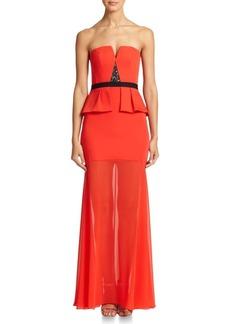 BCBGMAXAZRIA Caitlyn Strapless Peplum Gown
