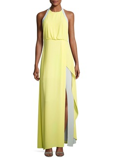 BCBGMAXAZRIA Camillia Halter-Neck Colorblocked Dress