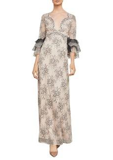 BCBG Max Azria BCBGMAXAZRIA Cascading Floral Lace Gown
