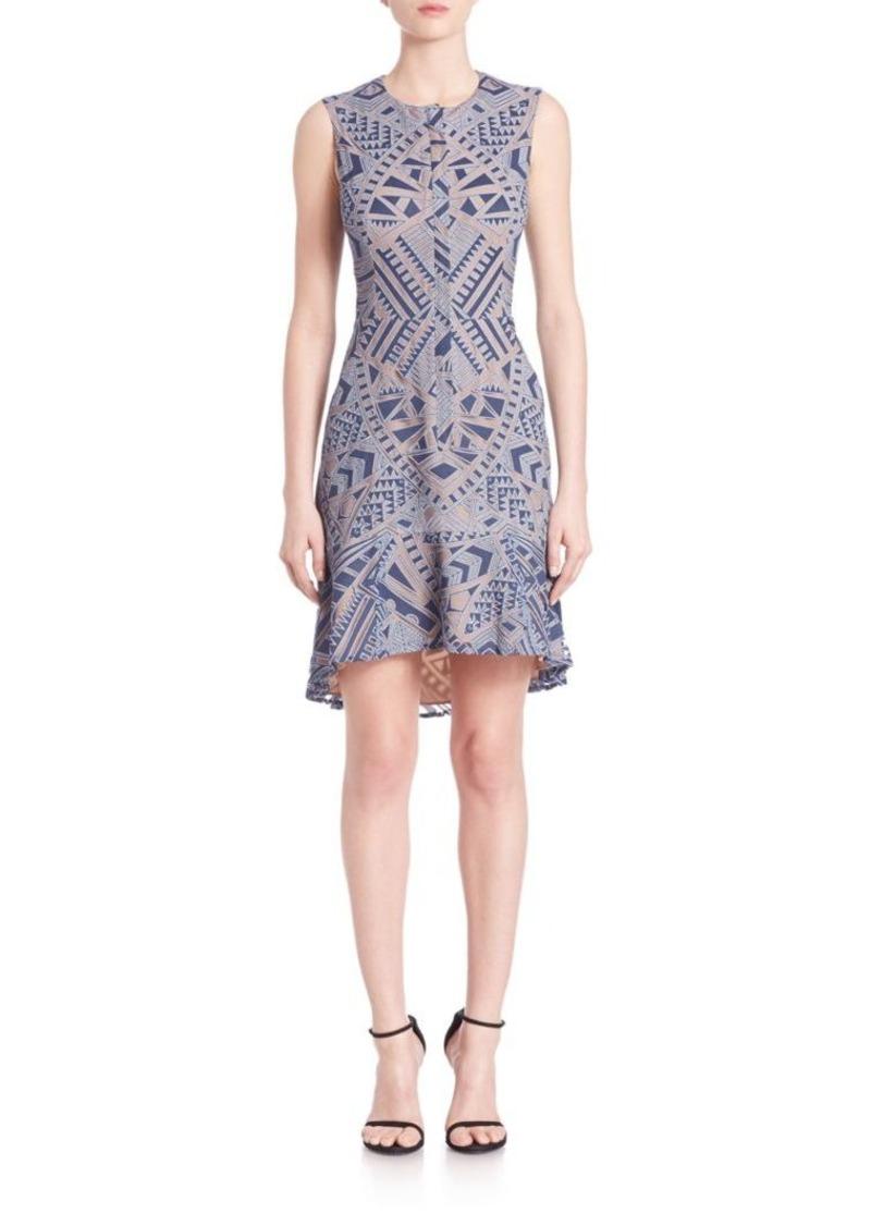 BCBG Max Azria BCBGMAXAZRIA Chrystal Zip-Front Burnout Lace Dress