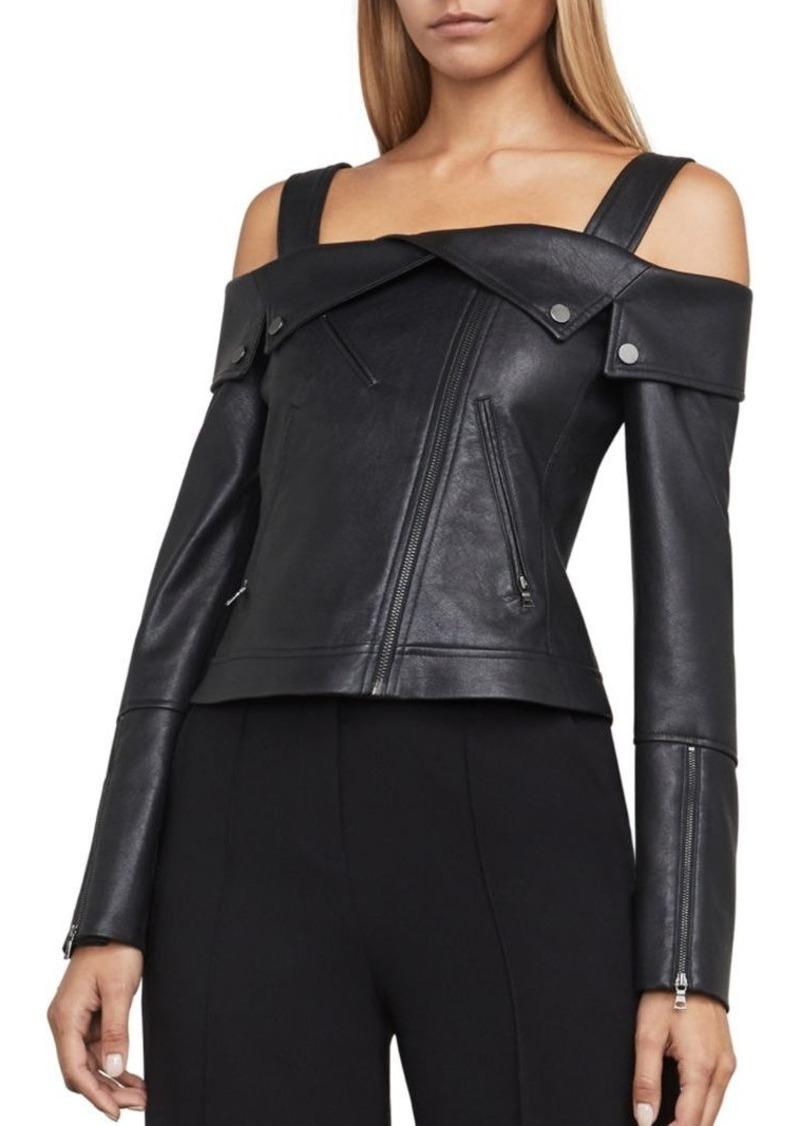 b97490d750bd BCBG Max Azria BCBGMAXAZRIA Clyde Knit Faux Leather Jacket