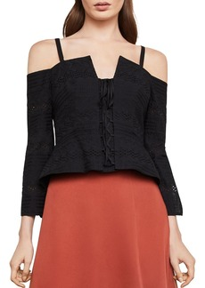 BCBG Max Azria BCBGMAXAZRIA Cold-Shoulder Eyelet Lace-Up Top