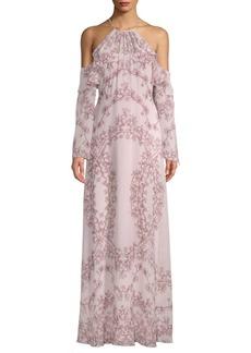 Cold-Shoulder Floral Gown