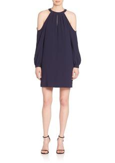 BCBGMAXAZRIA Cold-Shoulder Halterneck Dress