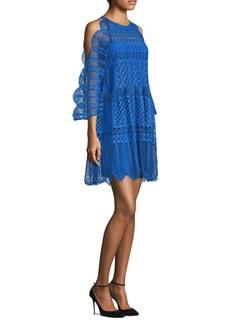 BCBG Max Azria Cold-Shoulder Lace Minidress