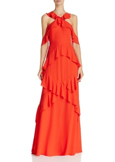 BCBGMAXAZRIA Cold-Shoulder Ruffle Gown