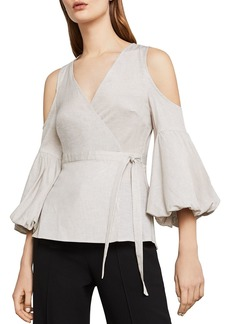 BCBG Max Azria BCBGMAXAZRIA Cold-Shoulder Striped Wrap Top